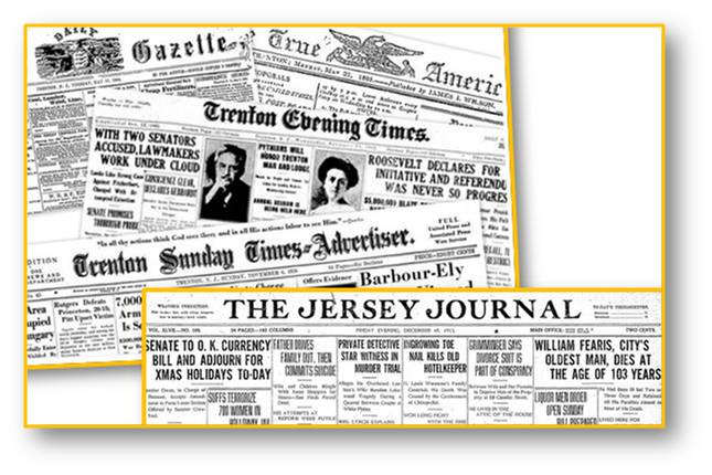 New Jersey NJ Historical Newspapers Collage