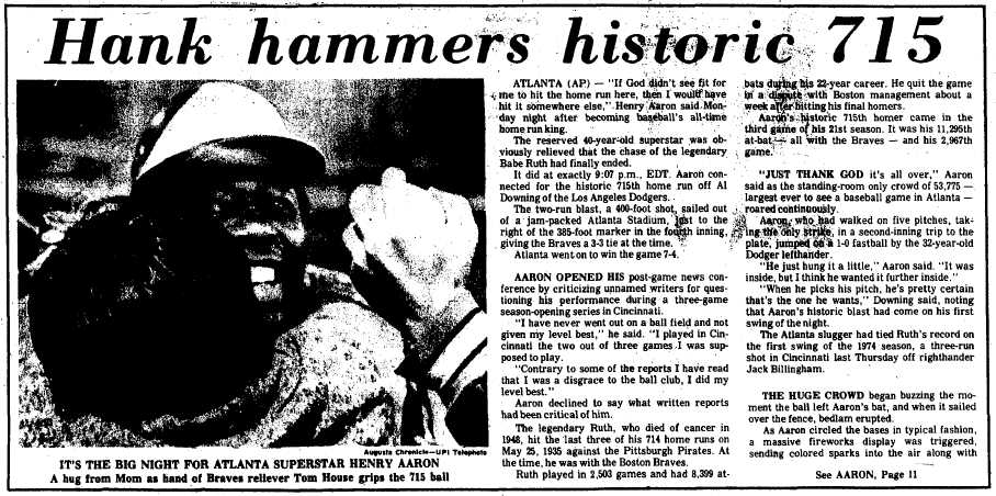 Hank Aaron hammers historic 715 homerun