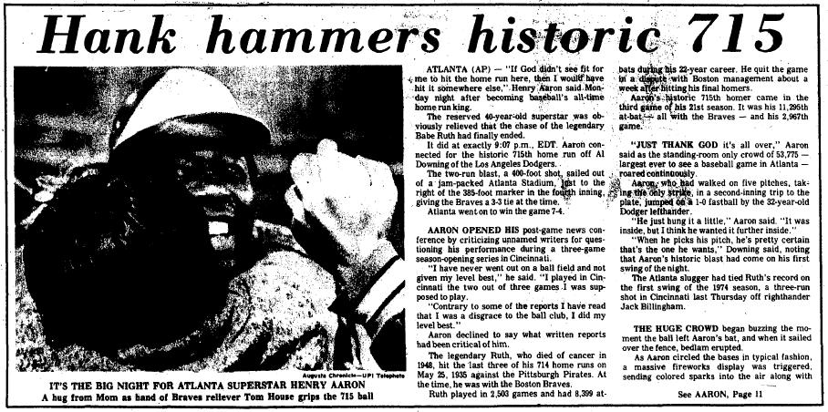 Hank Aaron hammers historic 715 homerun