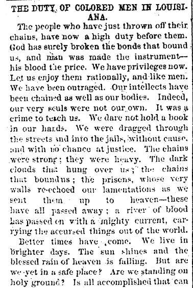 The Duty of Colored Men in Louisiana Black Republican Newspaper 1865