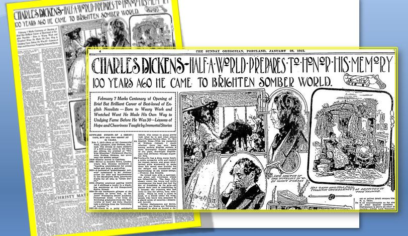Charles Dickens 100th Birthday Anniversary Newspaper Collage