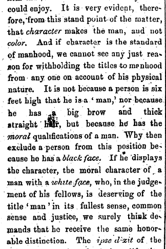 What Is a Man? Black Equality Article Colored American Newspaper
