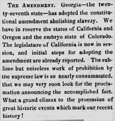 13th Amendment Newspaper Article Lowell Daily Citizen & News 1865