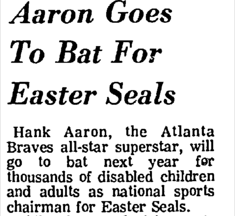 Hank Aaron Goes to Bat for Easter Seals
