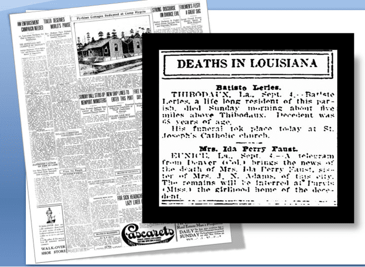 Deaths in Louisiana Article - New Orleans Item Newspaper
