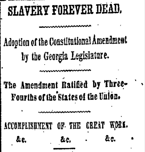 Slavery Forever Dead New York Herald Newspaper Article December 07, 1865