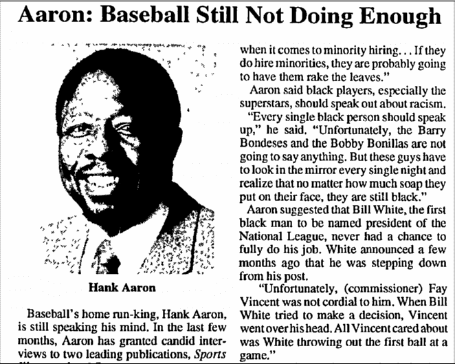 Hank Aaron: Baseball Still Not Doing Enough To Give Equal Opportunities To Minorities