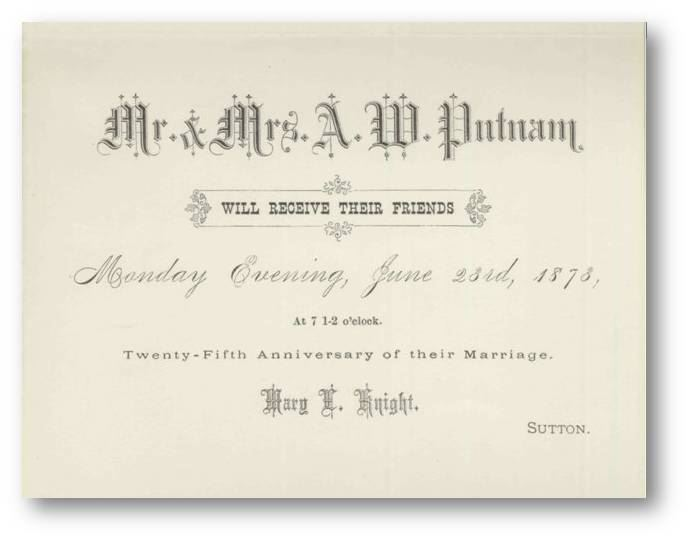 Mr. & Mrs. A.W. Putnam 25th Anniversary of their Marriage Invitation