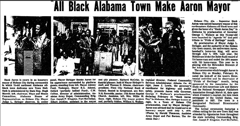 All Black Alabama Town Makes Hank Aaron Mayor