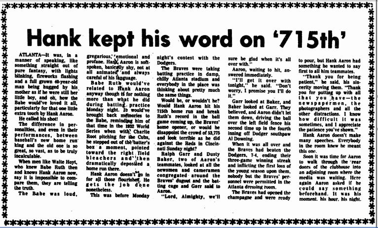 Hank Aaron kept his word on the 715th homerun