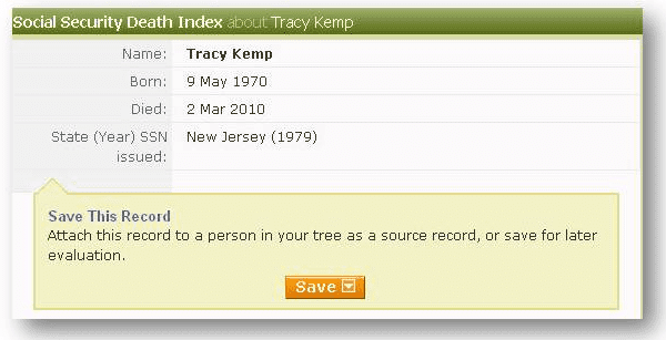 tracy kemp death record from ancestry's social security death index
