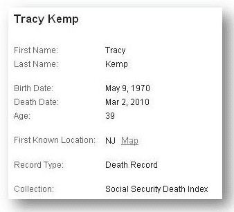 tracy kemp death record from archive's social security death index