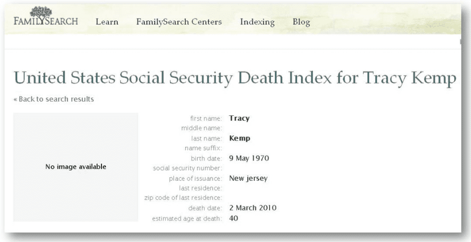 tracy kemp death record from familysearch's social security death index