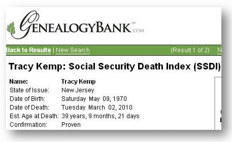 tracy kemp death record from genealogybank's social security death index