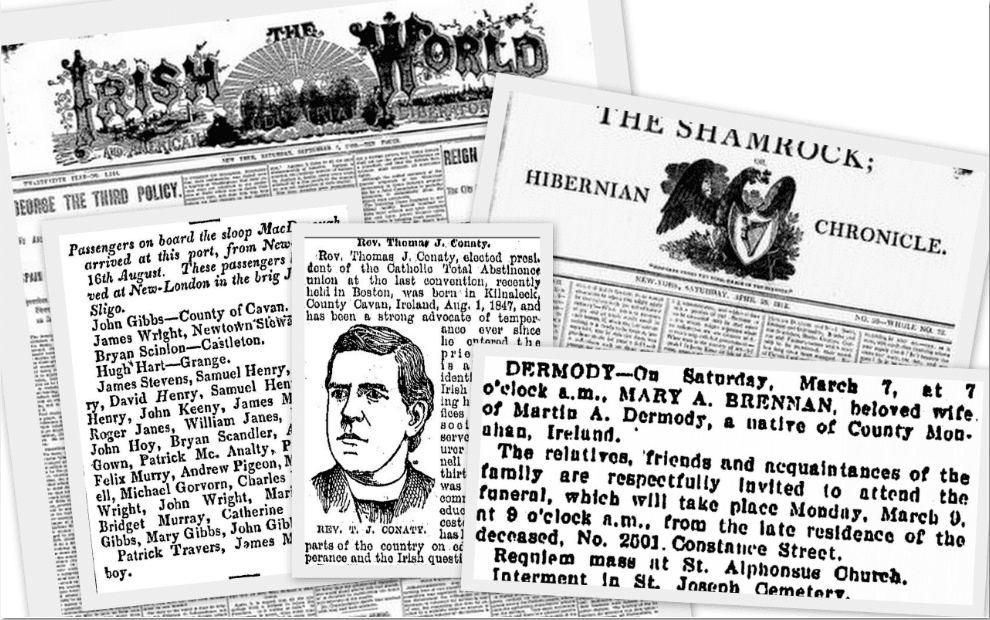 irish american newspaper article clippings