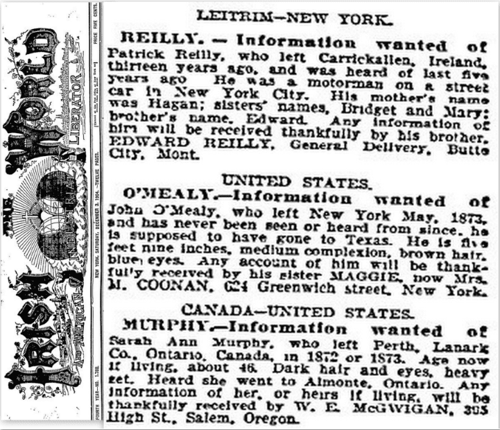 missing family member ad irish world newspaper Dec. 3, 1904