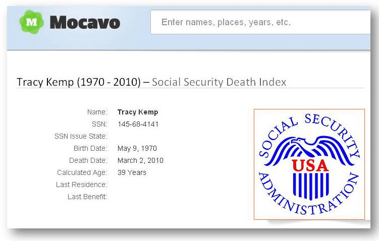 tracy kemp death record from mocavo's social security death index