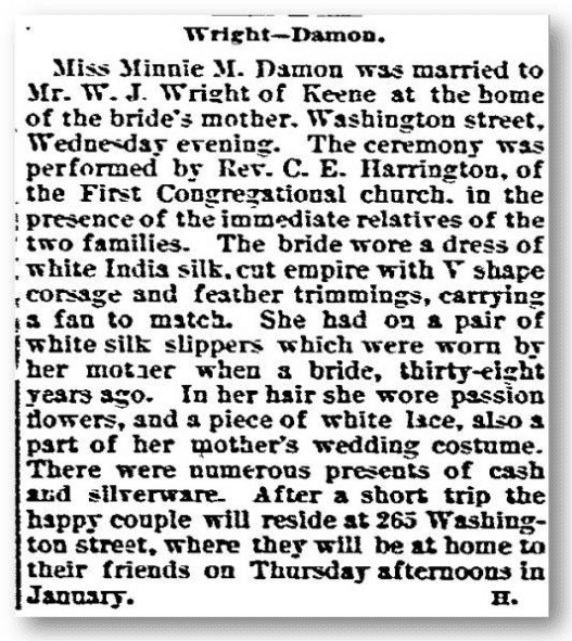 wright damon marriage notice new hampshire sentinel newspaper january 7, 1891