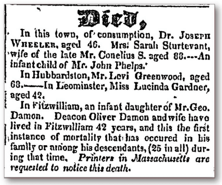 martha damon death notice new hampshire sentinel newspaper april 28, 1826