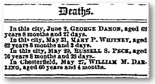 george damon death notice new hampshire sentinel june 4 1890