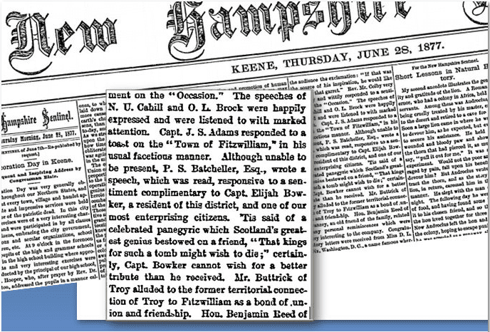 elijah bowker tribute new hampshire sentinel newspaper june 28, 1877