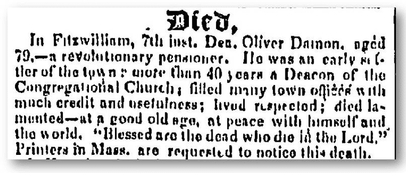 oliver damon obituary new hampshire sentinel newspaper november 9, 1837