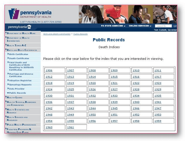 pennsylvania dept. of health public records death indices
