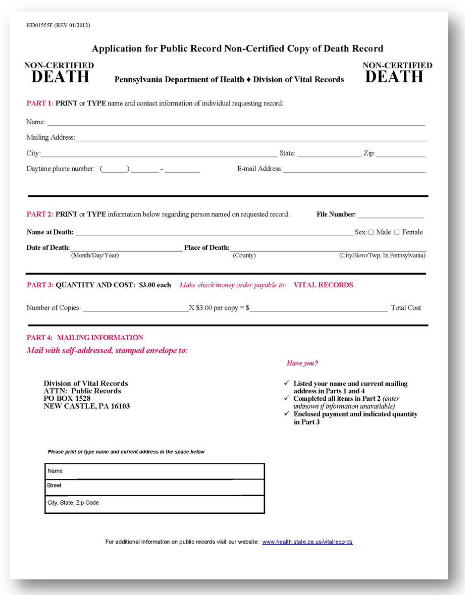 pennsylvania dept. of health death records application