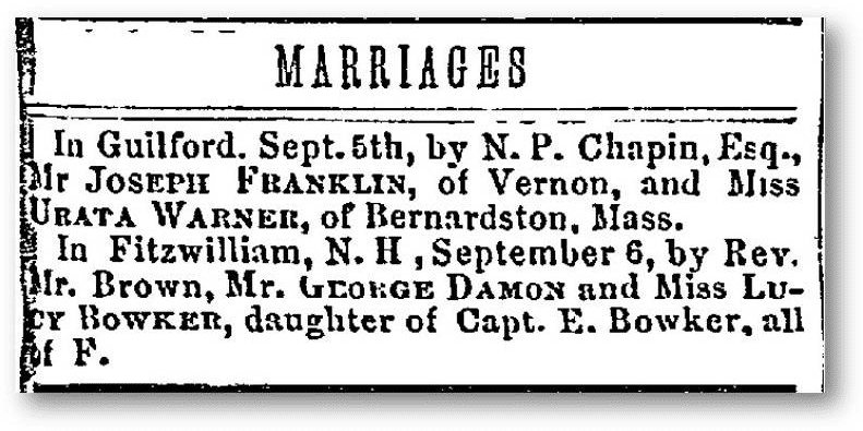 damon bowker marriage notice weekly eagle newspaper september 20, 1852