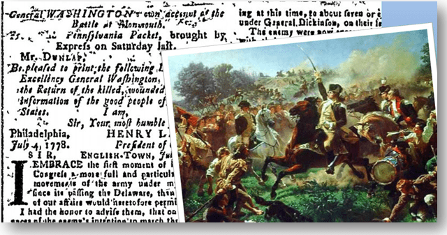 collage of the Revolutionary War's Battle of Monmouth, featuring a newspaper article from the Continental Journal newspaper and a painting of George Washington by Emanuel Leutze