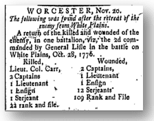 casualty list from the Revolutionary War Battle of White Plains, published by the Freeman's Journal newspaper on December 3, 1776