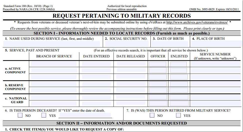 National Archives military records request form 1080