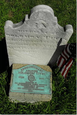 grave of Revolutionary War veteran Solomon Titus, buried in the Presbyterian churchyard in Pennington, New Jersey