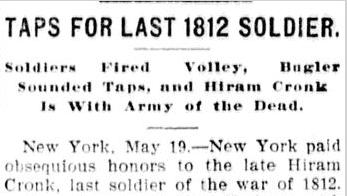 article about Hiram Cronk's funeral, Belleville News Democrat newspaper, 19 May 1905