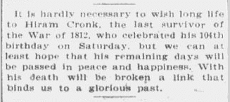 article about Hiram Cronk turning 104, Boston Journal newspaper, 2 May 1904