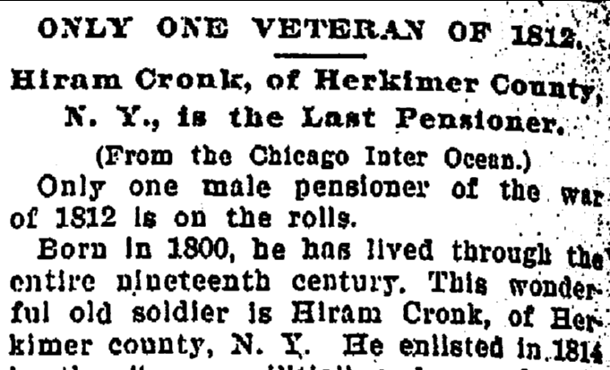 article about Hiram Cronk being the last survivor of the War of 1812, Daily Picayune newspaper, 3 June 1901