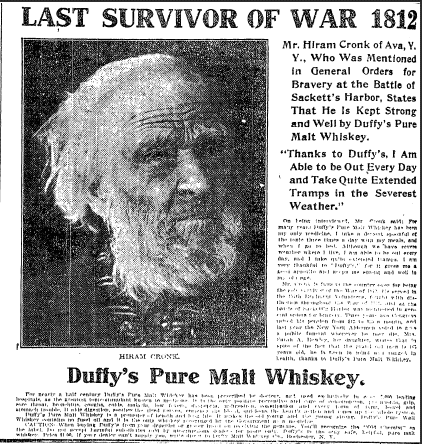 newspaper ad for Duffy's whiskey featuring Hiram Cronk, Evening Press newspaper 29 April 1905