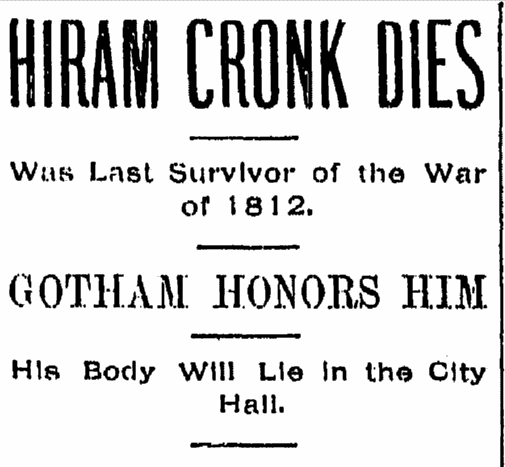 article about the death of Hiram Cronk, Evening Press newspaper, 13 May 1905