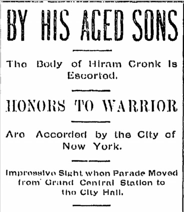 article about Hiram Cronk's body lying in state, Evening Press newspaper, 17 May 1905