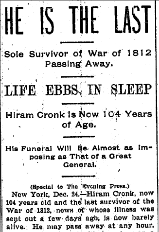 article about Hiram Cronk dying, Evening Press newspaper, 24 December 1904