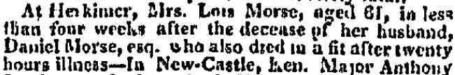 Lois Morse Obituary - New York Columbian Newspaper July 06, 1819