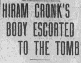 article about Hiram Cronk's funeral, Pawtucket Times newspaper, 18 May 1905
