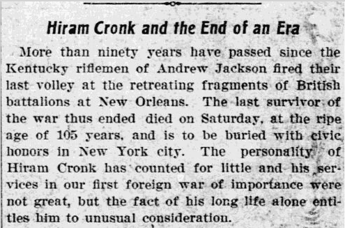 article about Hiram Cronk's death being the end of an era, Philadelphia Inquirer newspaper, 15 May 1905