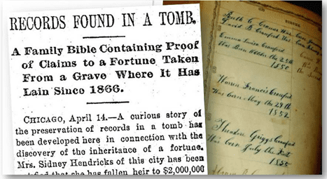 Records Found in a Tomb newspaper article from the Plain Dealer 15 April 1891
