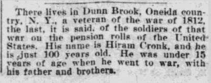 notice about Hiram Cronk being 100 years old, Springfield Daily Republican newspaper, 4 May 1900