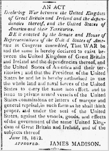 article from the Alexandria Gazette newspaper, 19 June 1812, about the U.S. declaring war on Great Britain: War of 1812