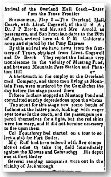 Daily Ohio Statesman -  Stagecoach Story Newspaper Article 1860
