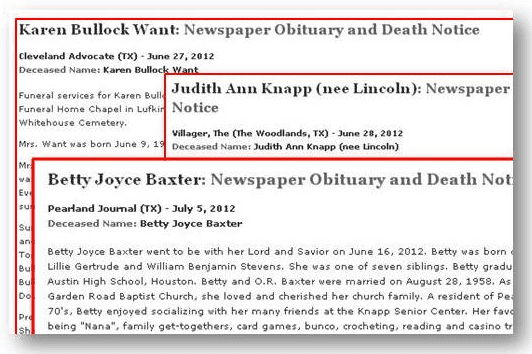 collage of recent obituaries from GenealogyBank