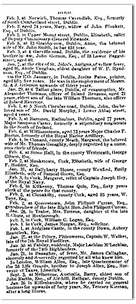 Irish Obituaries in the Irish American Weekly NYC, NY March 11, 1854