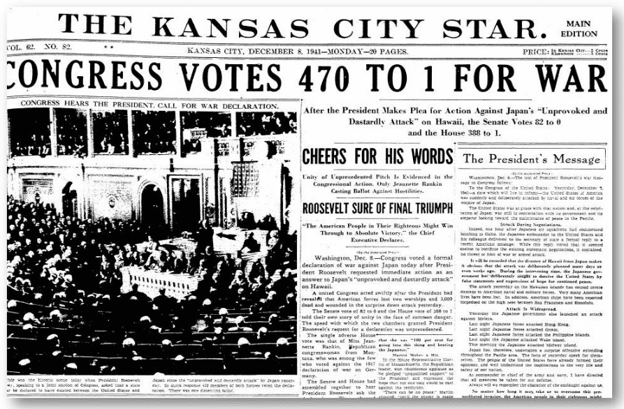 front page of the Kansas City Star newspaper 8 December 1941